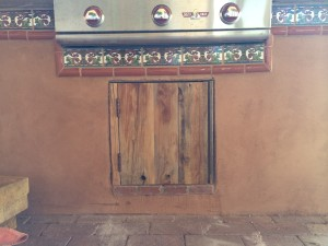 Grill Door and Frame Installed (reclaimed wood)